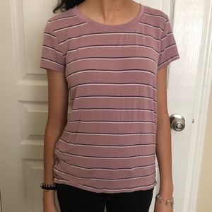 Tops - Dusty Rose Stripped T with Lace Up Detail